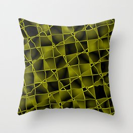 Mirrored gradient shards of curved yellow intersecting ribbons and dark lines. Throw Pillow