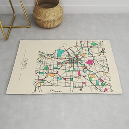 Colorful City Maps: Osaka, Japan Rug