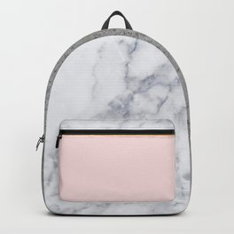 Marble Blush Gold gray Geometric Backpack