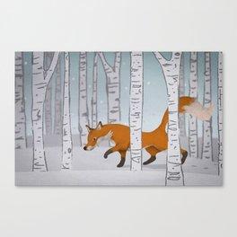 Fox & Birches  Canvas Print