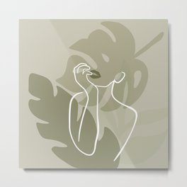 Plant Lady Figure Abstract Metal Print