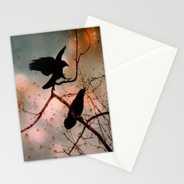 Rainy Day Crows Stationery Cards
