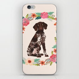 german shorthair pointer floral wreath spring dog breed pet portrait gifts iPhone Skin