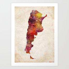 Argentina map Portrait Art Print
