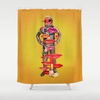 rocket Shower Curtains featuring Rocket Man by Eugenia Loli