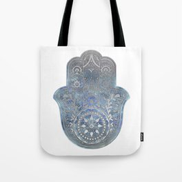 Silver Blues Hamsa Hand Tote Bag