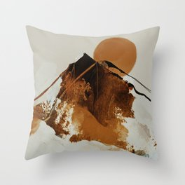 abstract mountains, rustic orange sunrise Throw Pillow