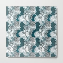 Blue Magnolia Pattern Metal Print