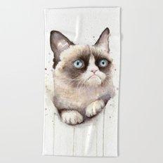 Grumpy Watercolor Cat Beach Towel
