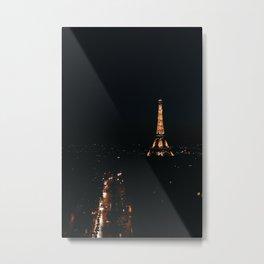Eiffel Tower at Night from L'Arc de Triomphe Metal Print