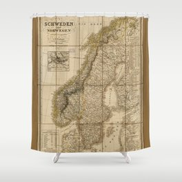 Map of Sweden and Norway (1847) Shower Curtain
