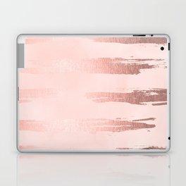 Rosegold Pink Stripes Laptop & iPad Skin