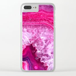 pink agate Clear iPhone Case
