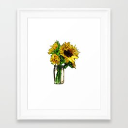Sunflower In Mason Jar Framed Art Print