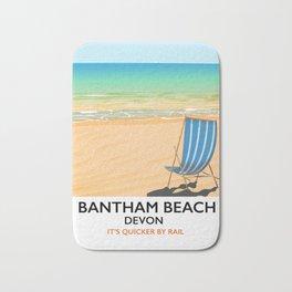 Bantham beach Devon seaside poster Bath Mat