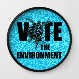 Actions Speak Louder - Sea Turtle design for the Vote the Environment Campaign, Black Dwarf Designs Wall Clock