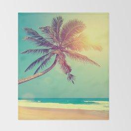 Palm Tree in Sri Lanka Throw Blanket