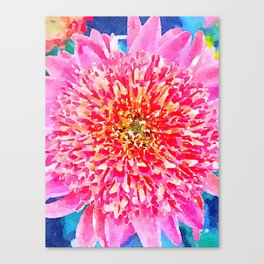 Pink Watercolor Flower Canvas Print