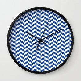 Cobalt Blue Herringbone Pattern Wall Clock