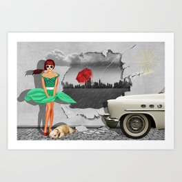 Weather change on the wall, with pin-up girl Art Print