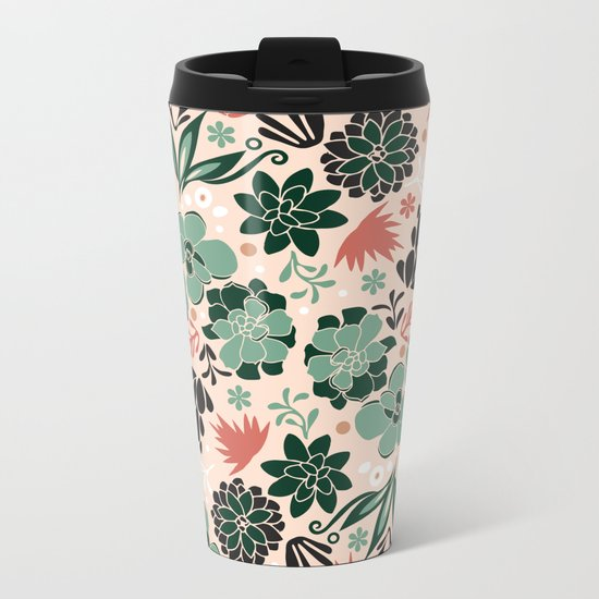 Succulent flowerbed Metal Travel Mug