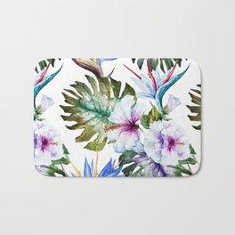 Watercolor Tropical Hibiscus Bath Mat