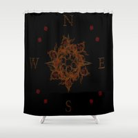 compass Shower Curtains featuring Compass by Amanda Letterman