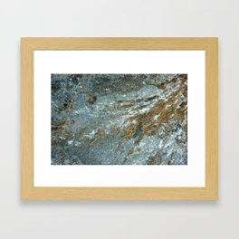 Earthy Blue and Gold Rock Framed Art Print