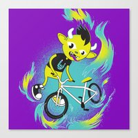 Monster Pixie Riding a Fixie Canvas Print