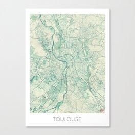 Toulouse Map Blue Vintage Canvas Print