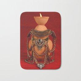Jeweled pottery vase Bath Mat