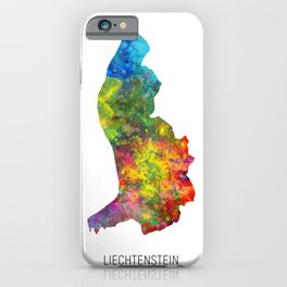 Liechtenstein Watercolor Map iPhone Case