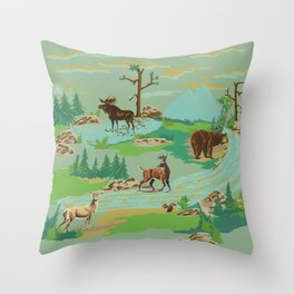 Paint by Number Woodland Animals Throw Pillow