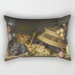 Balthasar Van Der Ast - Still Life Of Flowers  Fruit  Shells  And Insects Rectangular Pillow