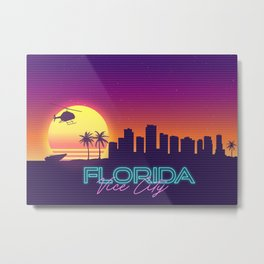 Vice City Florida GTA Skyline Landscape Syntwhave Metal Print