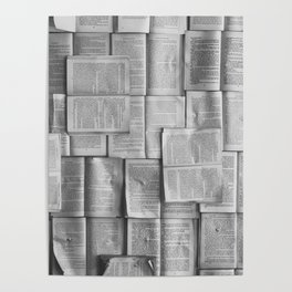 Novels Pattern (Black and White) Poster