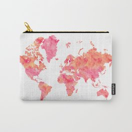 "Hot pink and orange watercolor world map ""Tatiana"" Carry-All Pouch"