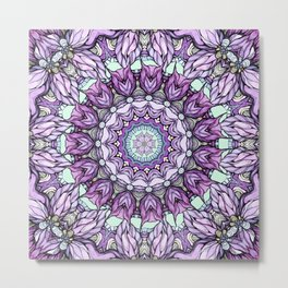 watercolor lily mandala Metal Print