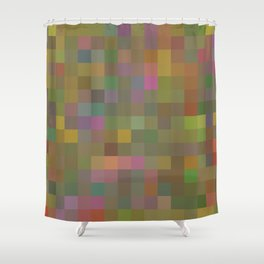 geometric square pixel pattern abstract in green pink yellow Shower Curtain