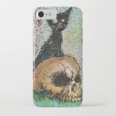 Black Cat with a Skull iPhone 7 Slim Case