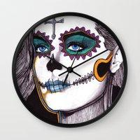 dia de los muertos Wall Clocks featuring Dia de los Muertos by Joseph Walrave