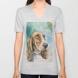 Bassett Hound Watercolor | Pillow Cover | Dogs | Home Decor | Custom Dog Pillow | Dog Mom | Hound Unisex V-Neck