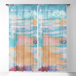 Bluebird of Happiness Abstract Painting Sheer Curtain