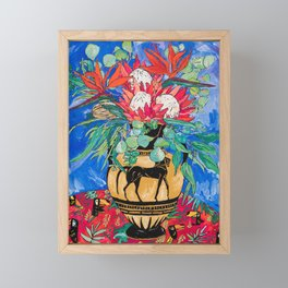 Tropical Protea Bouquet with Toucans in Greek Horse Urn on Ultramarine Blue Framed Mini Art Print