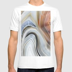Marble Lined White Mens Fitted Tee MEDIUM
