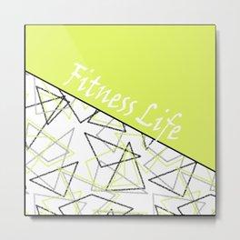 The fitness club . Sport . Lemon white creative sport pattern . Metal Print