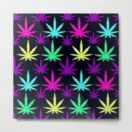 Colorful Marijuana Weed cool tone Metal Print