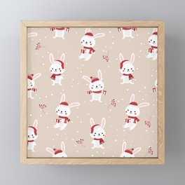 Adorable Christmas Rabbit Framed Mini Art Print