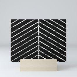 Silver Diagonal Lines Mini Art Print