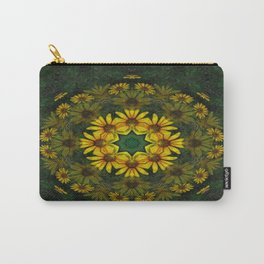 Large Yellow Wildflower Kaleidoscope Art 11 Carry-All Pouch